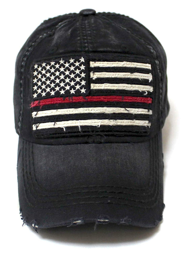 Classic Ballcap Red Line Patriotic USA Fire Department Memorial American Flag Vintage Hat, Black - Caps 'N Vintage