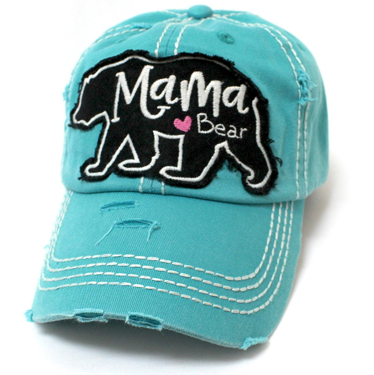 CAPS 'N VINTAGE Mama <3 Bear Geometric Shape Patch Embroidery Hat - Caps 'N Vintage