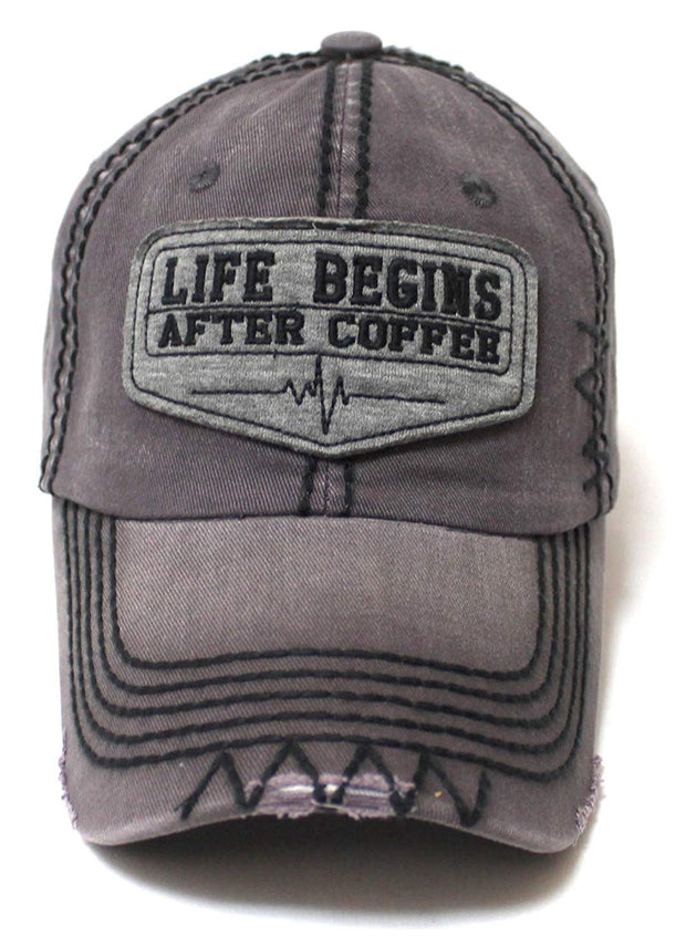 Classic Varsity Ball Cap Life Begins After Coffee Patch Embroidery Hat, Vintage Grey - Caps 'N Vintage