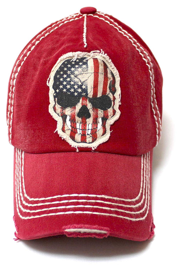 Classic Ballcap American Flag Skull Patch Embroidery Vintage Hat, Red - Caps 'N Vintage