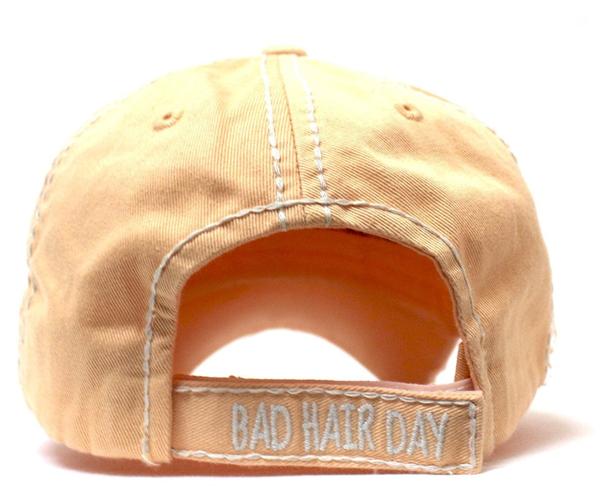CAPS 'N VINTAGE Bad Hair Day Patch Embroidery Distressed Baseball Hat - Caps 'N Vintage