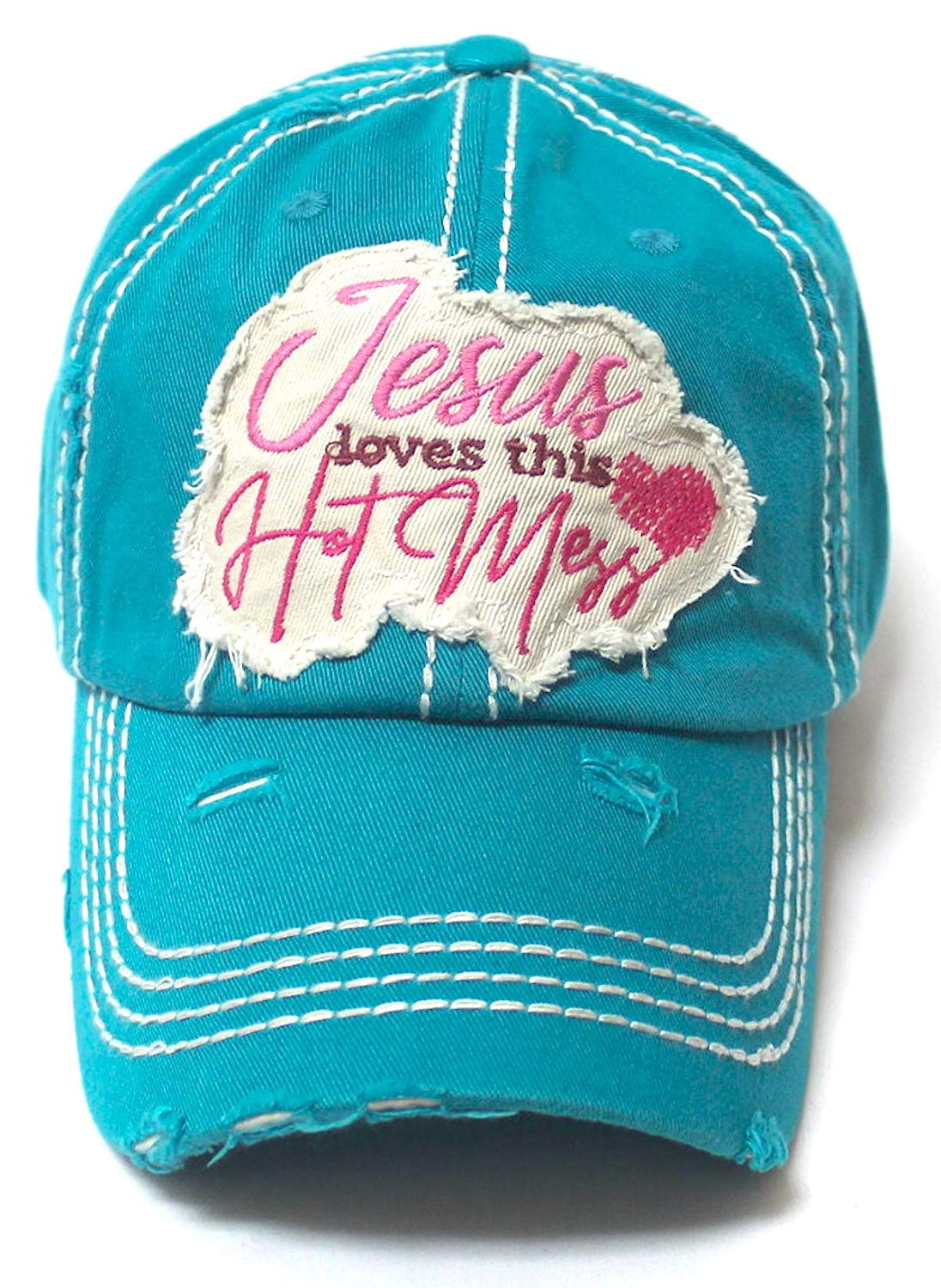 Women's Baseball Cap Jesus Loves This Hot Mess Heart Patch Embroidery Hat, Turquoise Jewel - Caps 'N Vintage