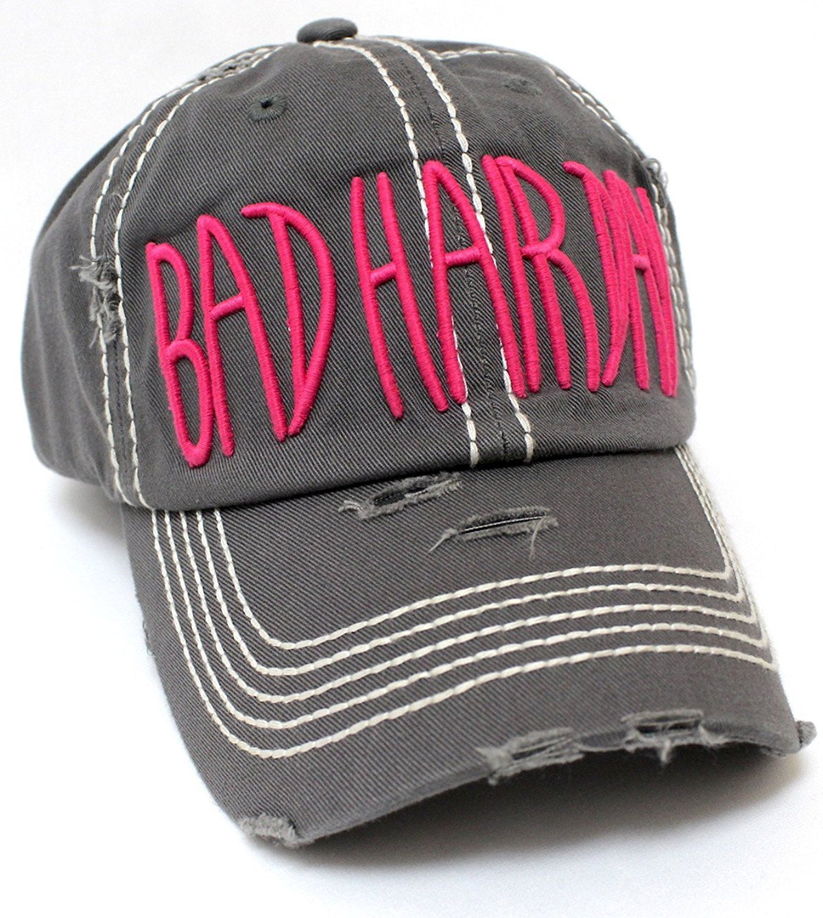 "NEW COLOR!! Washed D.GREY ""BAD HAIR DAY"" Embroidery Baseball Hat - Caps 'N Vintage"