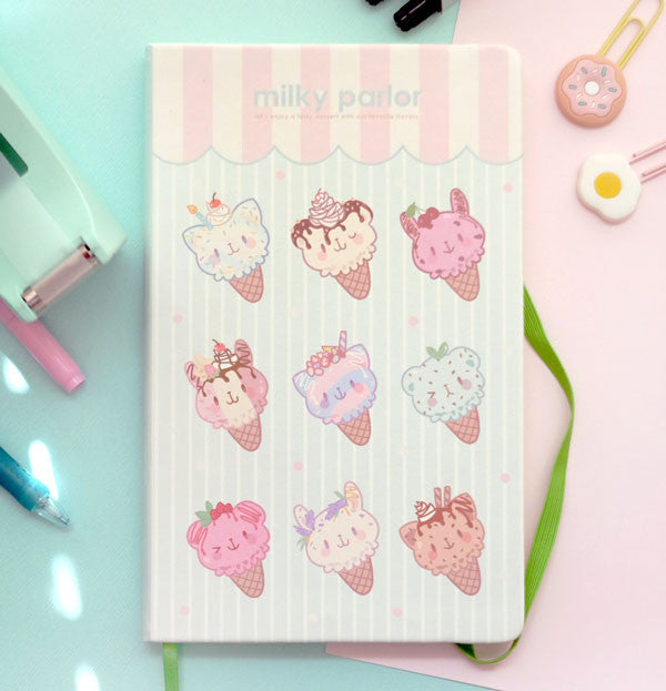milky parlor blank notebook