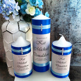 Godparent Set of 4 Baptism / Christening Personalised Candles (15cm)