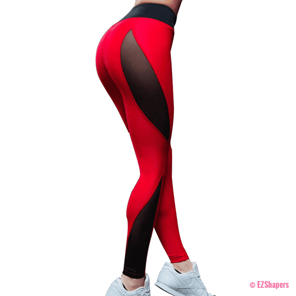 Fitness Black & Red Patchwork Leggings
