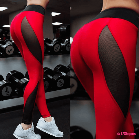 Image of Fitness Black & Red Patchwork Leggings
