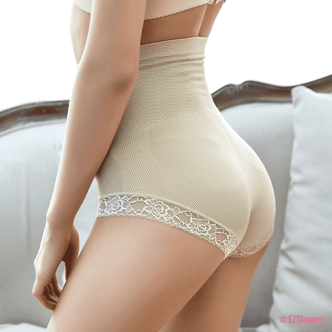High Waist Care Control Panty with Lace Detail