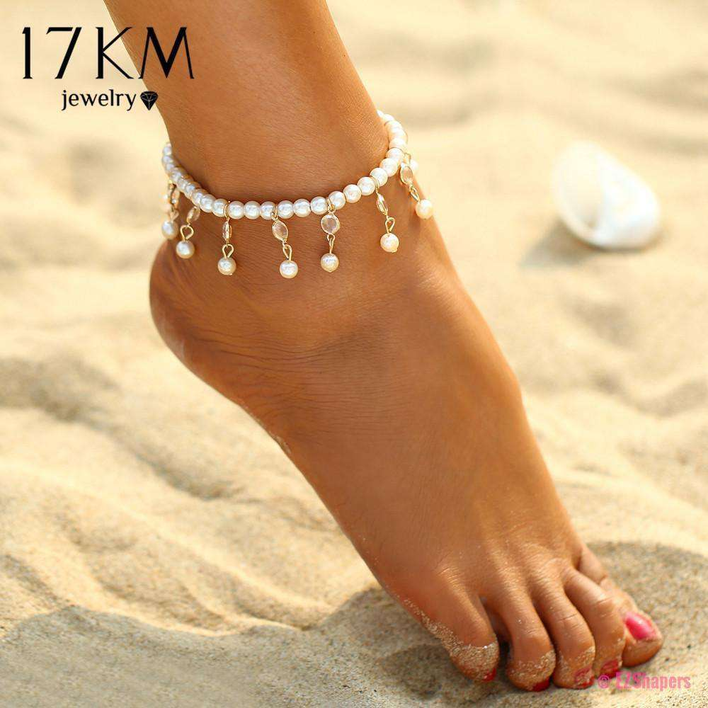 Bohemian Imitation Pearl Anklets
