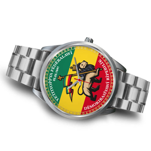 Image of Ethiopia Lion Judah Silver Watch | High Quality | Hot Sale
