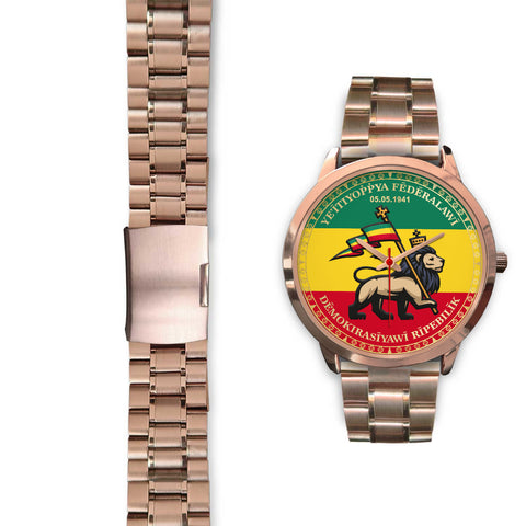 Image of Ethiopia Lion Judah Rose Gold Watch | High Quality | Hot Sale