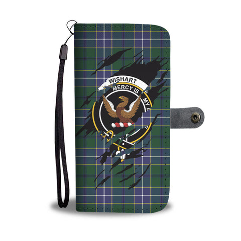 Wishart Tartan Wallet Phone Case In Me Clan Badge K7