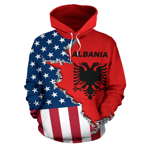 One Heart 2 Homes - USA Albania Unisex Hoodie - Front