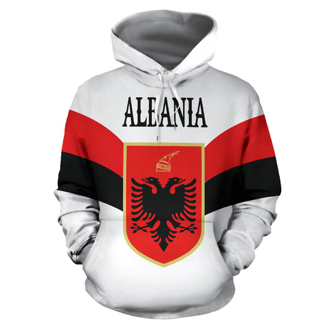 Wings of Albania Hoodie - White mix Red and Black color - Front - For Men and Women