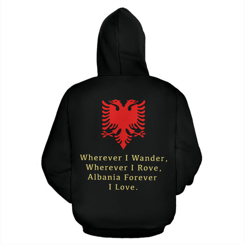 Albania Forever Hoodie with Black color - Back for Men and Womens