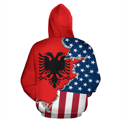 One Heart 2 Homes - USA Albania Unisex Hoodie - Back