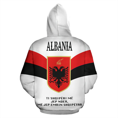 Wings of Albania Hoodie - White mix Red and Black color - Back - For Men and Women