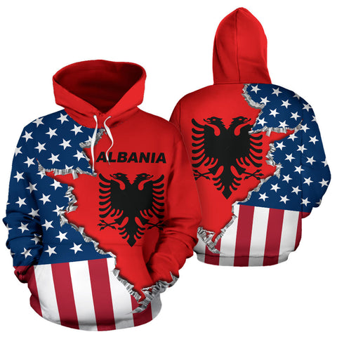 One Heart 2 Homes - USA Albania Unisex Hoodie - Front and Back
