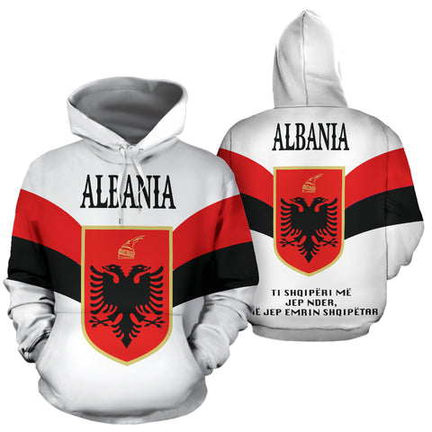 Wings of Albania Hoodie - White mix Red and Black color - Front and Back - For Men and Women