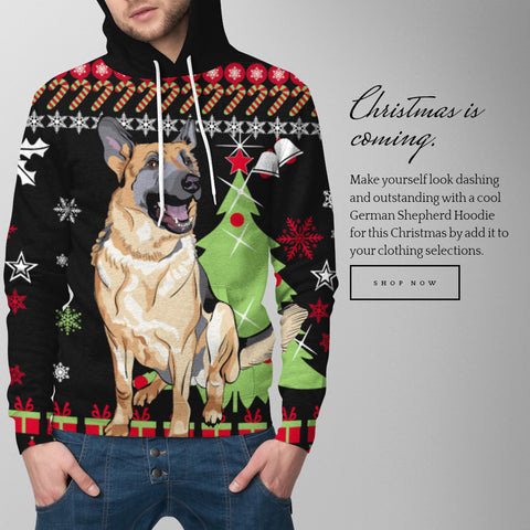 Image of Christmas Hoodie With German Shepherd - merry christmas, german shepherd, german hoodie, german clothing, clothing, hoodies, dab dance, outfits, 1sttheworld