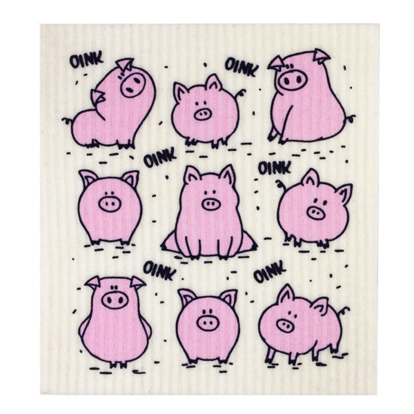 Retro Kitchen Biodegradable Dish Cloth - Pigs