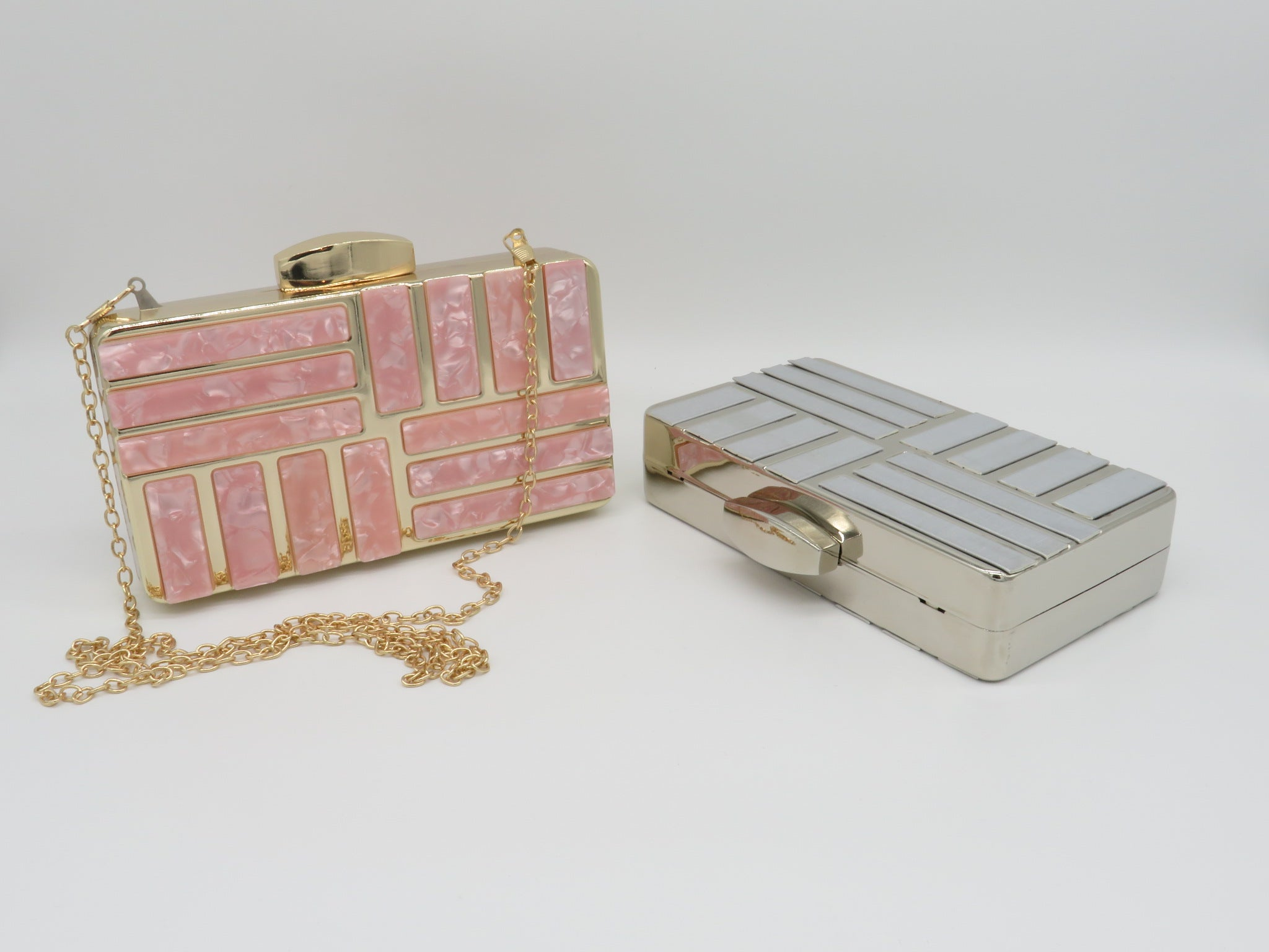 Zea - hard case box style, mother of pearl clutch bag, Beth Jordan
