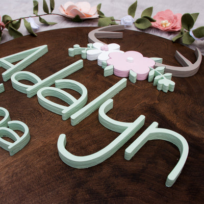 "24"" Antler Floral Round Custom 3D Name Wood Sign 