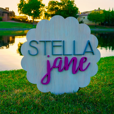 3D Wood Ribbon Name Sign Nursery Baby Infant Wall Art