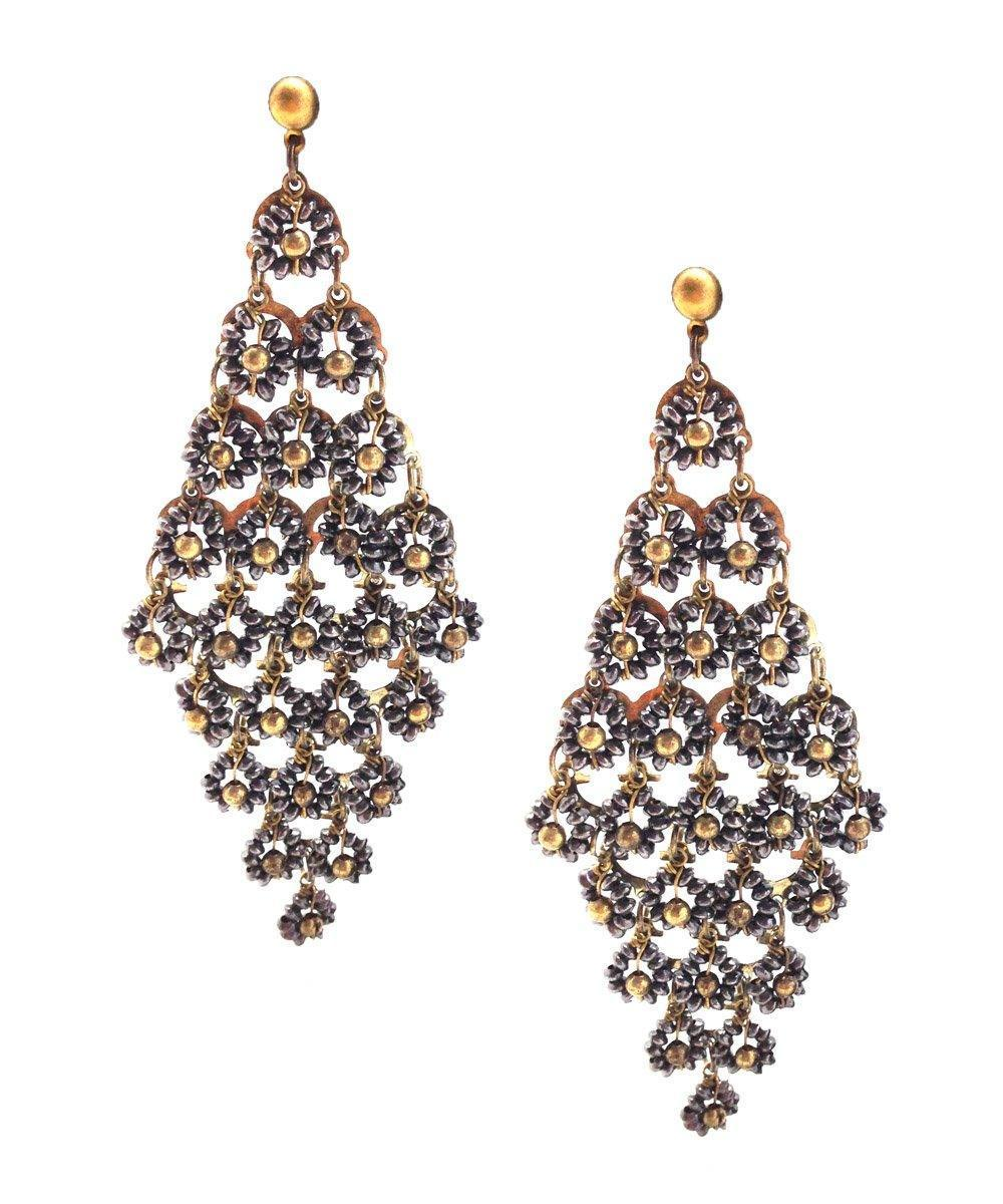 Earrings Parterre of golden flowers - Editions LESSisRARE Bijoux