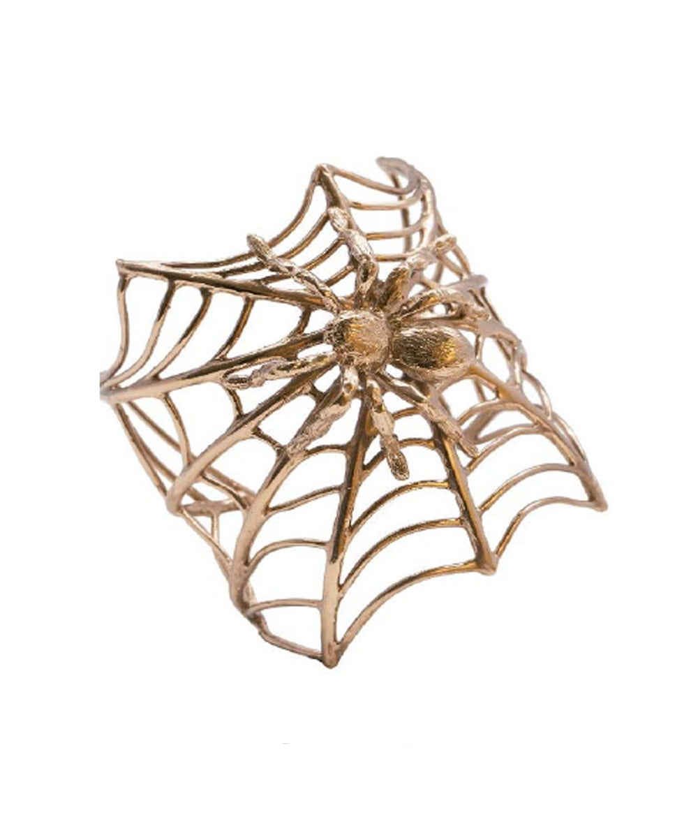 Spider cuff bracelet on its bronze canvas - Bernard Delettrez