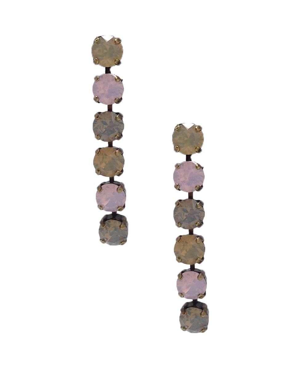 Pastel Swarovski crystals long earrings - Vogline