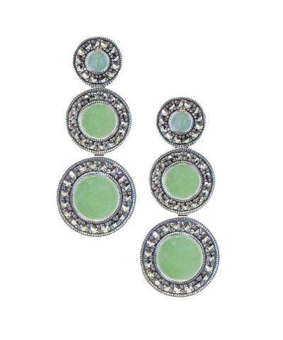 art deco earrings in jade, silver and marcasites