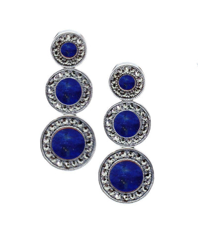 Art deco earrings in lapis lazuli, marcasites and silver