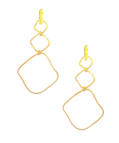 "Eloise Fiorentino-Long Gold Trio Clip Earrings - ""Ombre du soir"""