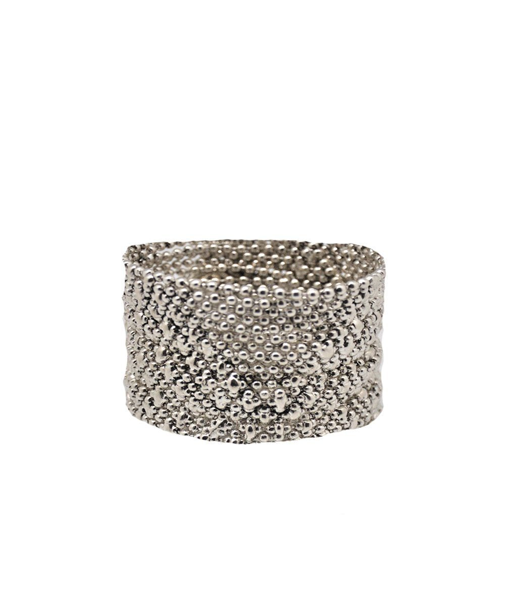 Silver metal mesh bracelet - Editions LESSisRARE Bijoux