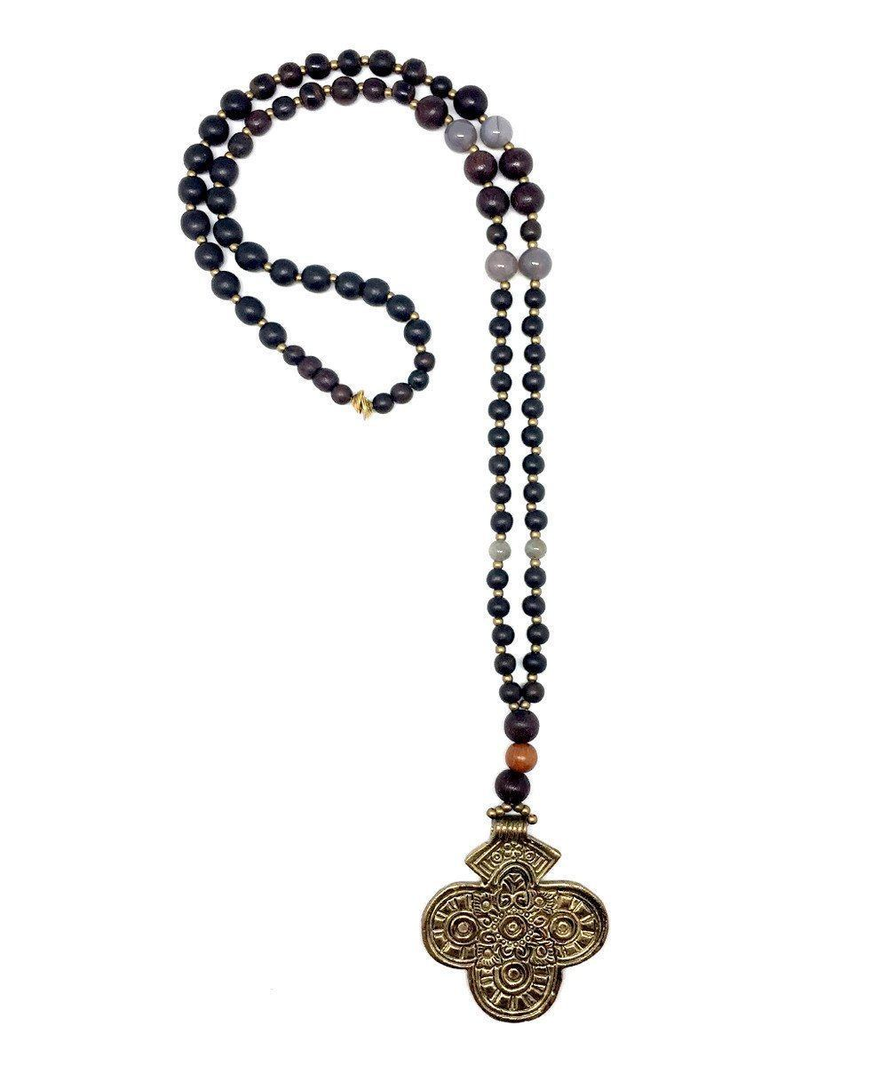 Long necklace in wood and gold cross - Jewels of Mala