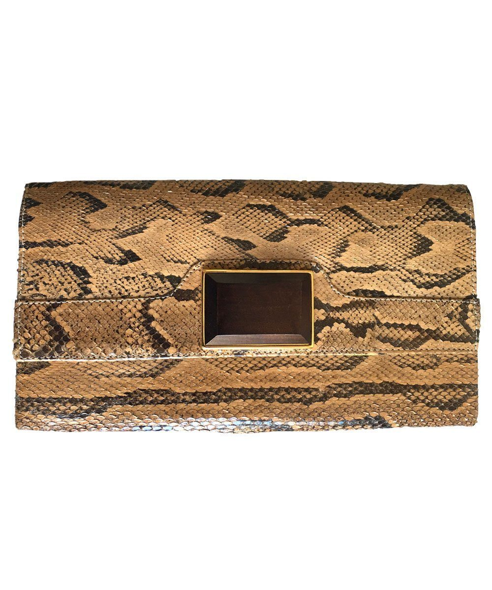 Python beige clutch bag - Editions LESSisRARE