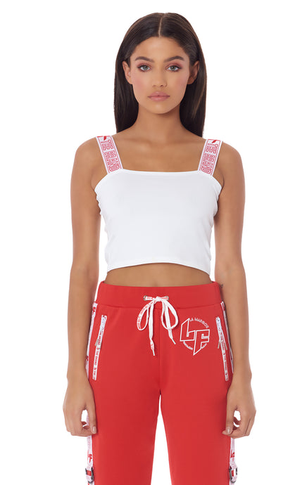 ATHLEISURE EDIT TANK WITH RED AND WHITE LF STRAP