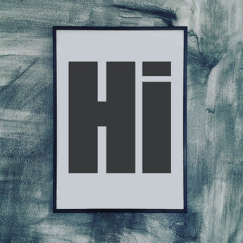 Print | 'Hi' by Gayle Mansfield Designs | Black on Grey