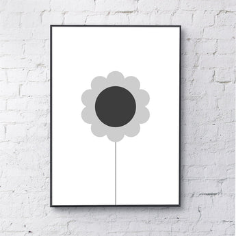Print | 'Flower (Grey)' by Gayle Mansfield Designs | Grey