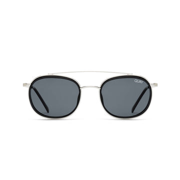 Got It Covered Sunglasses for Men and Women in Black and Silver with Smoke Lens by Quay Australia at CURRENT