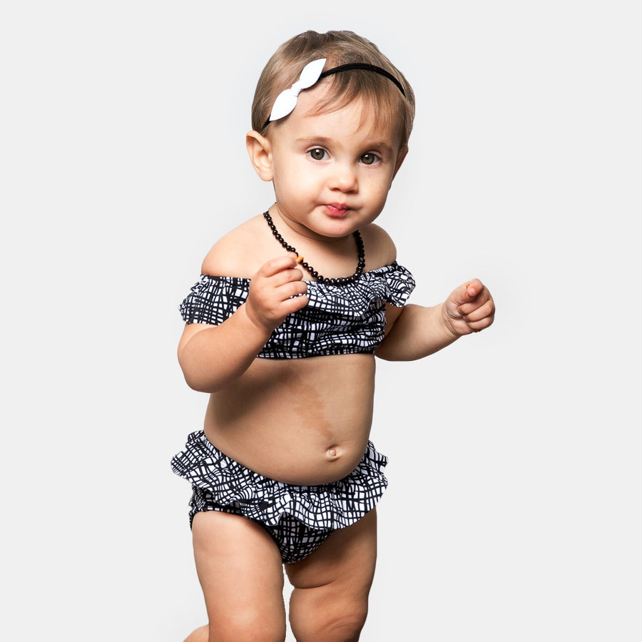 Luna Baby Girls Ruffle Bikini Swimsuit in Black by CURRENT | CURRENT LABEL | CURRENT Swim