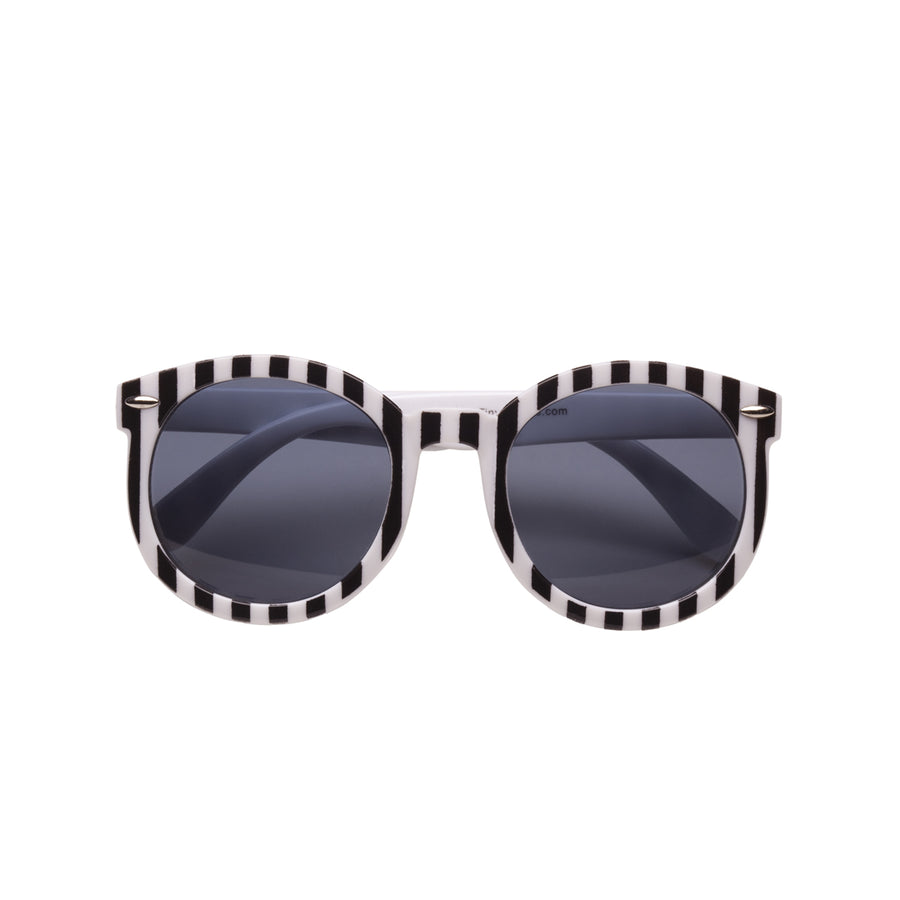 Paige Kids Sunglasses in Black and White Stripe by Teeny Tiny Optics at CURRENT
