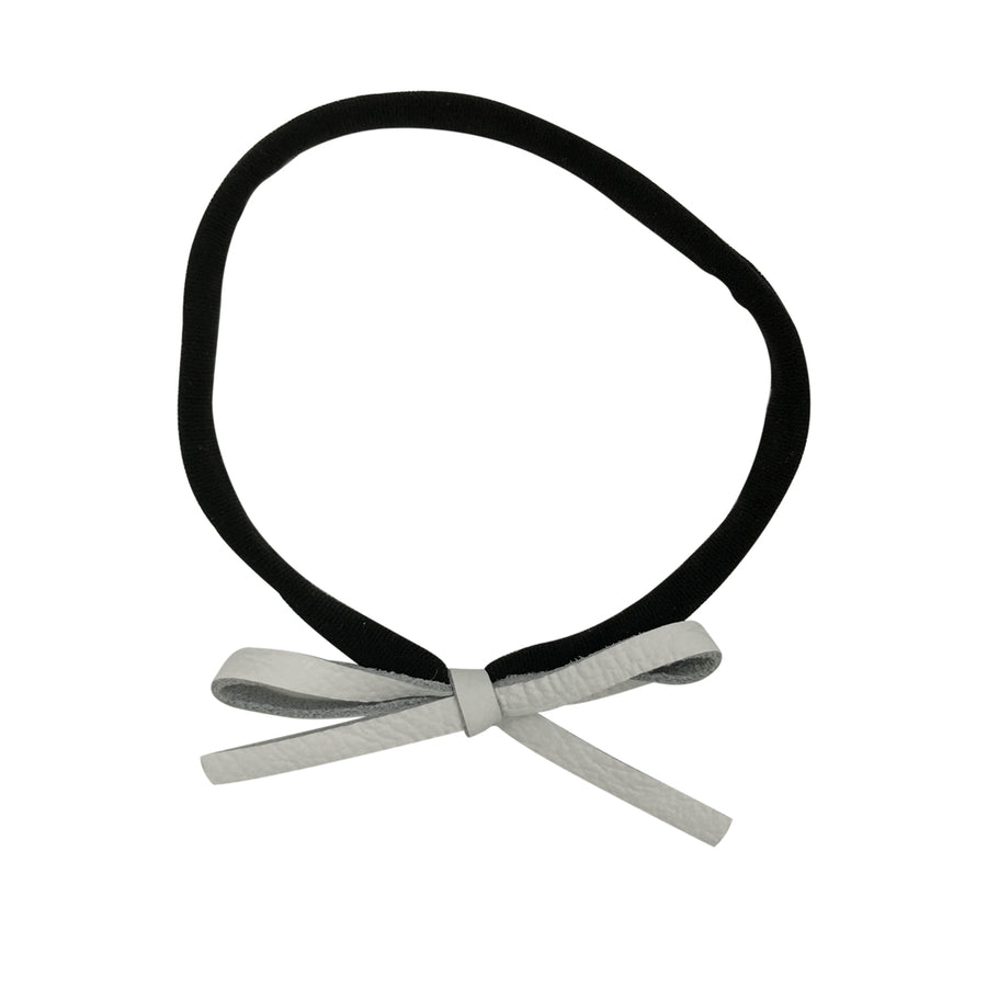 Tiny Leather Bow Headband in Black and White by CIALA Co at CURRENT