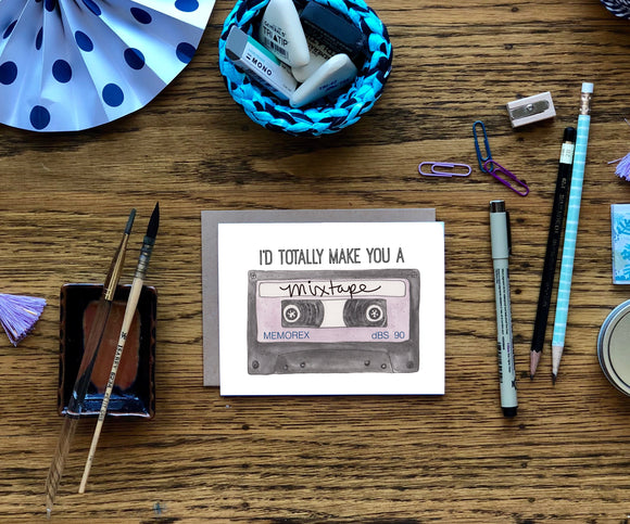 Mixtape- Retro Cassette Tape A2 Greeting Card