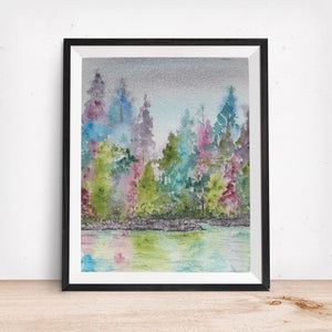 Rainbow Forest Art Print- Trees with colorful Lake Front