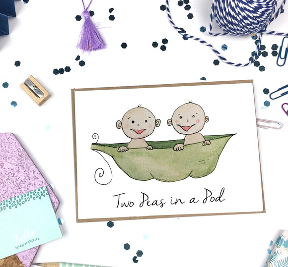 Two Peas in a Pod- A2 Greeting Card