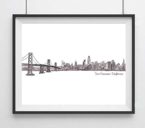 San Francisco, California Skyline with Bay Bridge Art Giclee Print