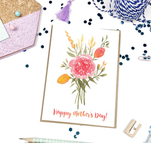 Mother's Day Vermilion Bouquet, A2 Greeting Card