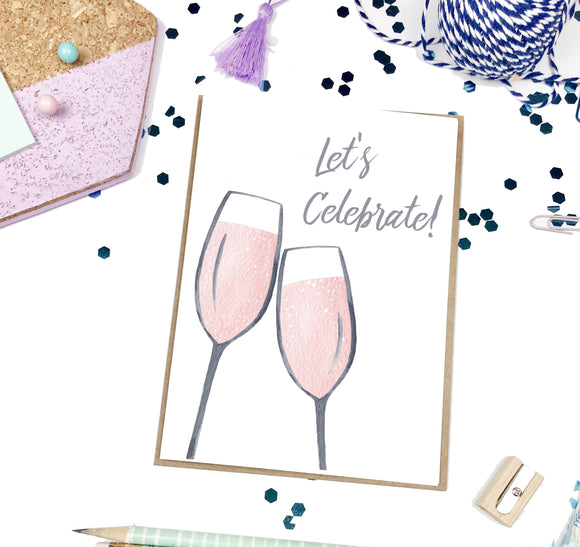 Let's Celebrate, Pink Champagne Glasses- A2 Greeting Card